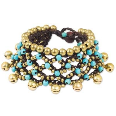 Brass Bells and Turquoise Color Gems on Handcrafted Bracelet