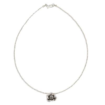 Silver pendant necklace, 'Luminous Rose' - Hand Crafted Silver Necklace with Rose Pendant from Thailand