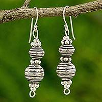 Silver dangle earrings, 'Worldly Karen'