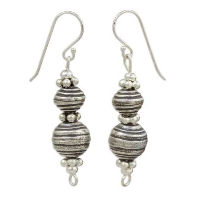 Silver dangle earrings, 'Worldly Karen' - Hand Crafted Silver Dangle Earrings with Oxidized Finish
