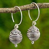 Silver dangle earrings, 'Karen New Year' - Artisan Crafted 950 Silver Dangle Earrings from Thailand