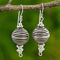 Silver dangle earrings, 'Karen Joyful' - Artisan Crafted Silver Dangle Earrings with Oxidized Finish