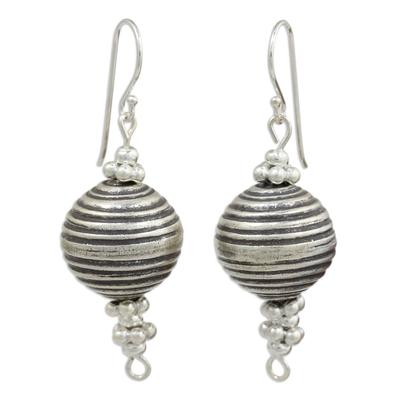 Silver dangle earrings, 'Karen Joyful' - Artisan Crafted Silver Dangle Earrings with Oxidized Finish