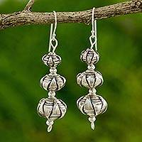 Silver dangle earrings, 'Karen Lotus'