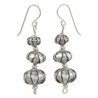 Silver dangle earrings, 'Karen Lotus' - Fair Trade Hill Tribe Silver Lotus Motif Dangle Earrings