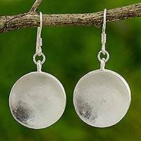 Silver dangle earrings, 'Full Moon'