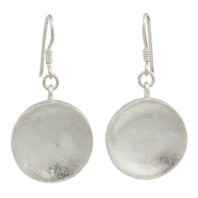 Silver dangle earrings, 'Full Moon' - Hand Crafted Silver Dangle Earrings from Thailand
