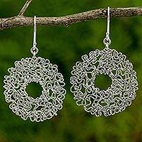 Sterling silver dangle earrings, 'The Freedom Circle' - Artisan Crafted Sterling Silver Abstract Dangle Earrings