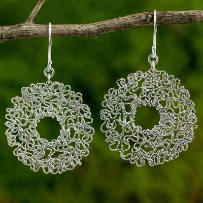 Novica Sterling silver dangle earrings, The Freedom Circle
