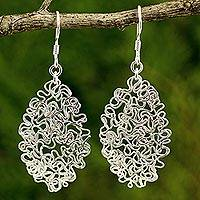 Sterling silver dangle earrings, 'Freedom of Flight' - Handcrafted Thai Freeform Sterling Silver Lace Earrings