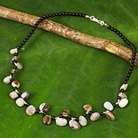 Agate and onyx beaded necklace, 'Natural Signature' - Onyx Necklace with Free-Form Agates