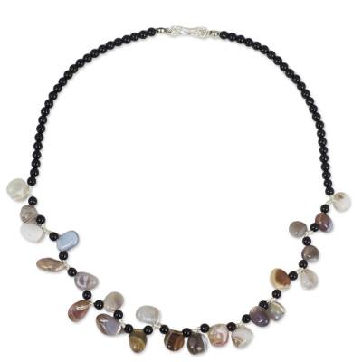 Onyx Necklace with Free-Form Agates