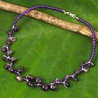 Amethyst beaded necklace, 'Natural Signature' - Purple Quartz Necklace with Free-Form Amethysts