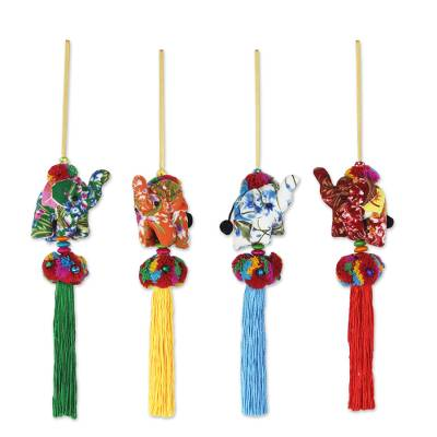 Cotton ornaments, 'Happy Lanna Elephants' (set of 4) - Set of 4 Multicolor Thai Elephant Ornaments Crafted by Hand