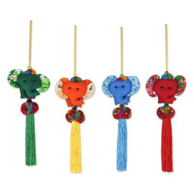 4 Artisan Crafted Multicolor Thai Cotton Elephant Ornaments