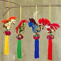 Cotton ornaments, 'Happy Thai Horses' (set of 4) - Artisan Crafted Multicolor Thai Cotton Horse Ornaments (4)