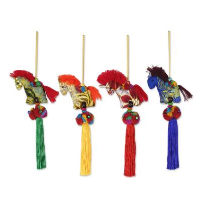 Artisan Crafted Multicolor Thai Cotton Horse Ornaments (4)