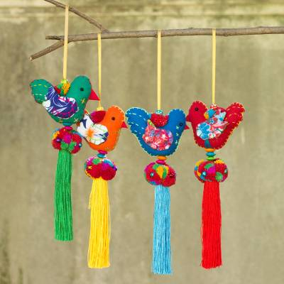 Cotton ornaments, 'Happy Thai Doves' (set of 4) - 4 Birds and Brass Bells Artisan Crafted Multicolor Ornaments