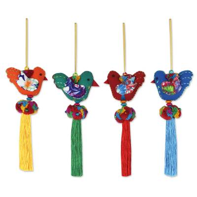 4 Birds and Brass Bells Artisan Crafted Multicolor Ornaments