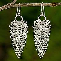 Sterling silver dangle earrings, 'Chain Mail Lotus' - Lotus Chain Mail Earrings Hand Crafted in Sterling Silver