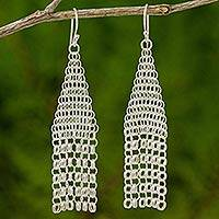 Sterling silver chandelier earrings, 'Chain Mail Breeze' - Thai Fair Trade Jewelry 925 Sterling Silver Earrings