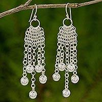 Sterling silver chandelier earrings, 'Chain Mail Dewdrops' - Fair Trade 925 Sterling Silver Earrings Handcrafted in Thai