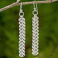 Sterling silver dangle earrings, 'Helix Columns' - Artisan Crafted 925 Sterling Silver Earrings from Thailand