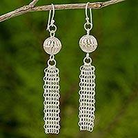 Sterling silver chandelier earrings, 'Mien Lampions' - Asian Lampion Style Earrings Artisan Crafted in 925 Silver