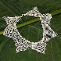 Sterling silver statement necklace, 'Reign' - Thai Sterling Silver Star Shape Statement Collar Necklace