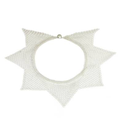 Thai Sterling Silver Star Shape Statement Collar Necklace