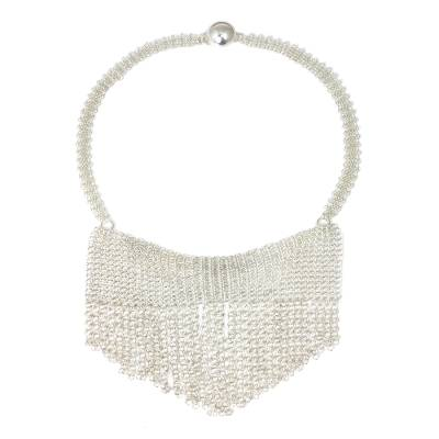 Sterling Silver Cascade Statement Necklace from Thailand