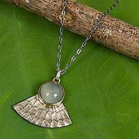 Sterling silver pendant necklace, 'Blue Butterfly Crown' - Blue Chalcedony Butterfly Wing Antiqued 925 Silver Necklace
