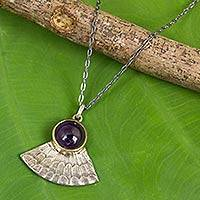 Amethyst pendant necklace, 'Butterfly Crown' - Butterfly Wing with Amethyst Antiqued 925 Silver Necklace