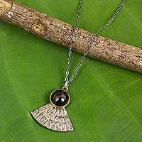 Garnet pendant necklace, 'Butterfly Crown' - Butterfly Wing with Garnet Antiqued 925 Silver Necklace