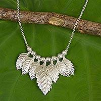 Sterling silver waterfall necklace, 'Leaves in Snow' - Thai Sterling Silver Leaf Theme Waterfall Necklace
