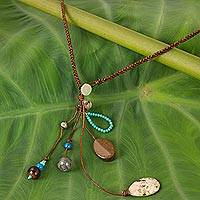 Multi-gemstone pendant necklace, 'Earth and Sky'
