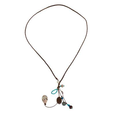 Multi-gemstone pendant necklace, 'Earth and Sky' - Hand Crafted Multi-gemstone Pendant Necklace from Thailand