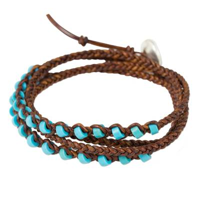 Artisan Crafted Leather and Calcite Braided Wrap Bracelet