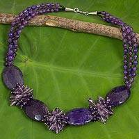 Amethyst and quartz beaded necklace, 'Splendid in Purple' - Beaded Thai Amethyst Statement Necklace Crafted by Hand
