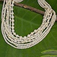 Cultured freshwater pearl strand necklace, 'Peony Blossoms' - Artisan Crafted Cultured Pearl Strand Necklace from Thailand