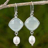 Chalcedony and cultured freshwater pearl dangle earrings, 'Sweet Morning'