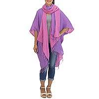 Cotton kimono jacket and scarf set, 'Blush in Purple' - Artisan Crafted Cotton Kimono Jacket and Scarf from Thailand