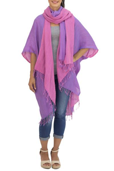 Cotton jacket and scarf set, 'Blush in Purple' - Artisan Crafted 100% Cotton Jacket and Scarf from Thailand