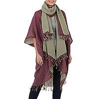 Cotton kimono jacket and scarf set, 'Subtle Chic' - Hand Crafted 100% Cotton Jacket and Scarf Set from Thailand