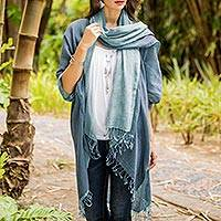 Cotton kimono jacket and scarf set, 'Blue Mystique'