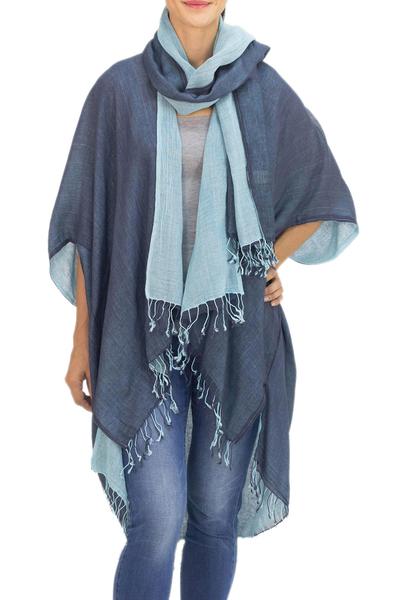 Cotton kimono jacket and scarf set, 'Blue Mystique' - 100% Cotton Blue Jacket and Scarf Set from Thailand