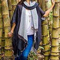 Cotton jacket and scarf set, 'Monochromatic' - Artisan Crafted 100% Cotton Black and Grey Jacket and Scarf