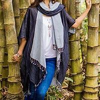 Cotton kimono jacket and scarf set, 'Monochromatic'