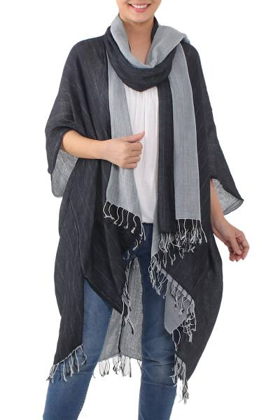 Cotton kimono jacket and scarf set, 'Monochromatic' - Artisan Crafted 100% Cotton Black and Grey Jacket and Scarf