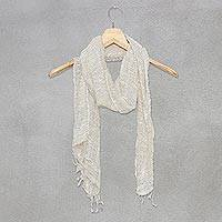100% silk scarf, 'White Breeze'